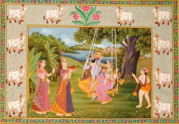 фестиваль качелей, начало Джхулан-ятры Радхи-Говинды